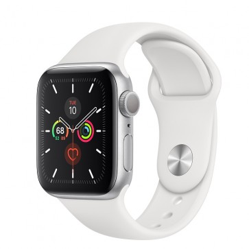 Apple Watch Series 5 GPS, 44mm Silver Aluminum Case with White Sport Band