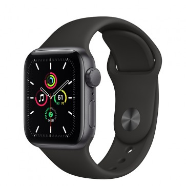 Apple Watch Series SE GPS, 40 mm Space Gray Aluminum Case with Black Sport Band