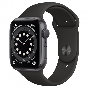 Apple Watch Series 6 GPS, 44mm Space Gray Aluminum Case with Black Sport Band