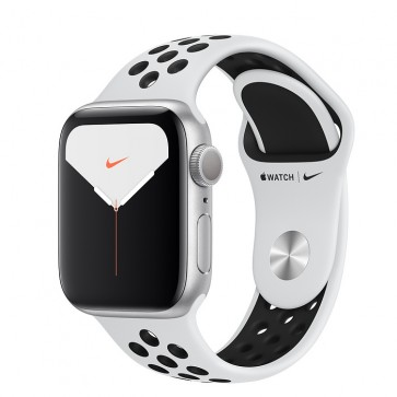 Apple Watch Nike Series 5 GPS, 40mm Silver Aluminum Case with Pure Platinum/Black Nike Sport Band