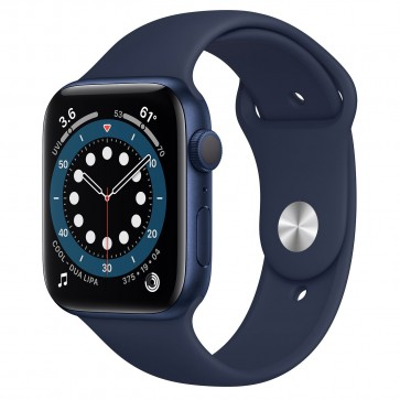 Apple Watch Series 6 GPS, 44mm Blue Aluminum Case with Deep Navy Sport Band
