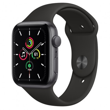 Apple Watch Series SE GPS, 44 mm Space Gray Aluminum Case with Black Sport Band