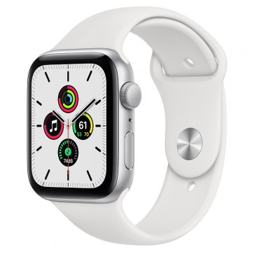 Apple Watch Series SE GPS, 44 mm Silver Aluminum Case with White Sport Band