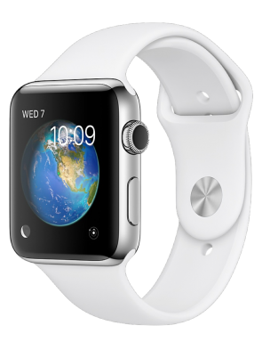 Apple Watch Series 2, 38mm Stainless Steel Case with White Sport Band