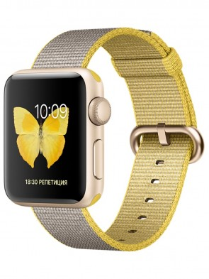 Apple Watch Series 2, 38mm Gold Aluminum Case with Yellow/Light Gray Woven Nylon Band