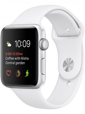 Apple Watch Series 2, 42mm Silver Aluminum Case with White Sport Band