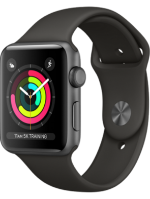 Apple Watch Series 3 GPS, 42mm Space Gray Aluminum Case with Gray Sport Band