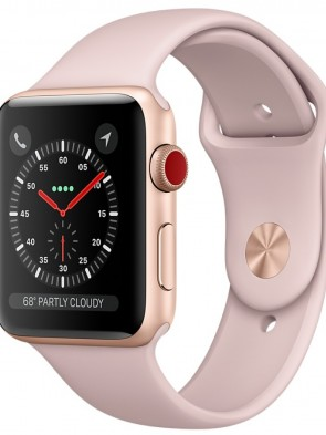 Apple Watch Series 3 GPS+ Cellular, 42mm Gold Aluminum Case with Pink Sand Sport Band