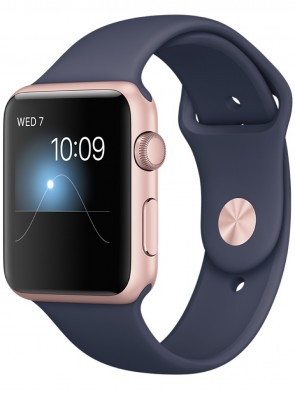Apple Watch Series 1, 42mm Rose Gold Aluminum Case with Midnight Blue Sport Band