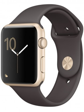 Apple Watch Series 1, 42mm Gold Aluminum Case with Cocoa Sport Band