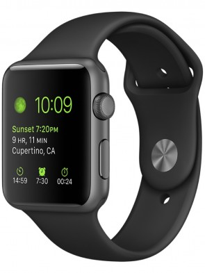 Apple Watch Series 1, 42mm Space Gray Aluminum Case with Black Sport Band