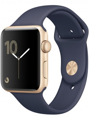 Apple Watch Series 2, 42mm Gold Aluminum Case with Midnight Blue Sport Band