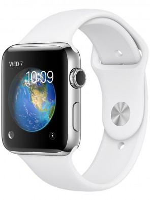 Apple Watch Series 2, 42mm Stainless Steel Case with White Sport Band