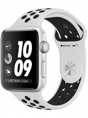 Apple Watch Series 3, 42mm Silver Aluminum Case with Pure Platinum/Black Nike Sport Band