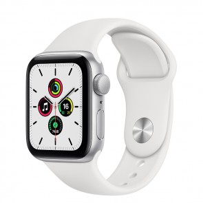 Apple Watch Series SE GPS, 40 mm Silver Aluminum Case with White Sport Band