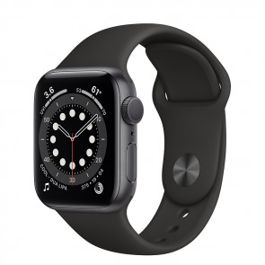Apple Watch Series 6 GPS, 40 mm Space Gray Aluminum Case with Black Sport Band