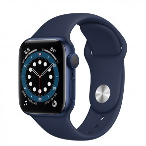 Apple Watch Series 6 GPS, 40mm Blue Aluminum Case with Deep Navy Sport Band