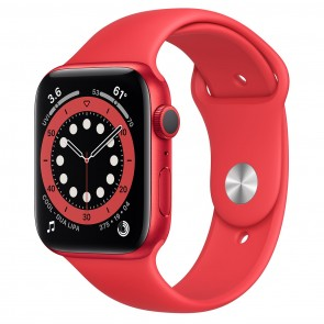 Apple Watch Series 6 GPS, 44mm Red Aluminum Case with Red Sport Band