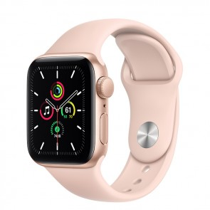 Apple Watch Series SE GPS, 40 mm Gold Aluminum Case with Pink Sand Sport Band